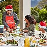 KATOOM Weihnachten Schürze Lustig Kochschürze Schneemann Weihnachtsmann Rentier Küchenschürze Rot Latzschürze für Weihnachtensparty Heiligabend Chef Damen Herren - 5
