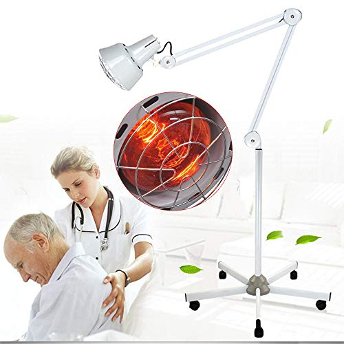Far Infrared Heat Lamp, Far Infrared Short-Wave Heat Lamp Floor Stand Heating Therapy for Joint & Muscle, Adjustable Arm, Portable & Lightweight Design (US_Stock)
