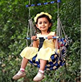 Ganesh Enterprize® Cotton Swing for Kids Baby's Children Folding and Washable 1-4 Years with Safety Belt Home Garden Jhula for Babies for Indoor Outdoor(Multicolor) (Capsule Blue)