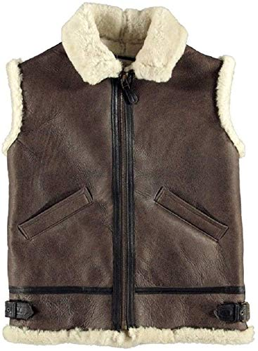 B3 USAAF Bomber Brown White Real Shearling Sheepskin Leather Vest (3XL)