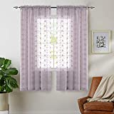 Voile Curtains for Bedroom Rod Pocket Violet Vintage Floral Embroidered Lilac...