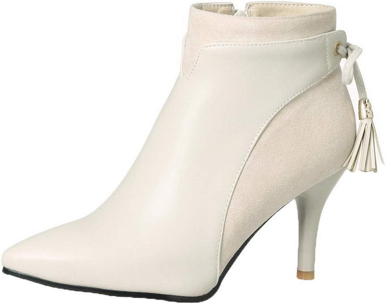 WeiPoot Women's Blend Materials Zipper Closed-Toe High-Heels Low-Top Boots, EGHXH127939