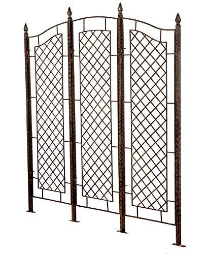 H Potter Large Garden Trellis for Climbing Plants Wrought Iron Metal 3 Panel Ivy Garden Privacy Screen Patio Deck GAR573L