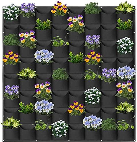 Hängende Pflanzbeutel, 64 Taschen Hängende vertikale Wand Pflanzgefäße Pflanzen Pflanzbeutel, Gartenarbeit Vertikale Begrünung Blumenbehälter Pflanzentasche...
