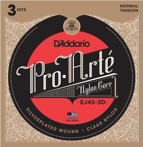 D'Addario EJ45-3D Pro-Arte Nylon Classical Guitar Strings, Normal Tension (3 Sets) - Nylon Core Basses, Laser Selected Trebles - Offers Balance of Volume and Comfortable Resistance