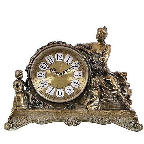 SWNN Reloj Despertador Reloj De Sobremesa Mesa De Resina Europea Reloj De Mesa Retro Salón Decoración Americana Escritorio (Color : Copper)