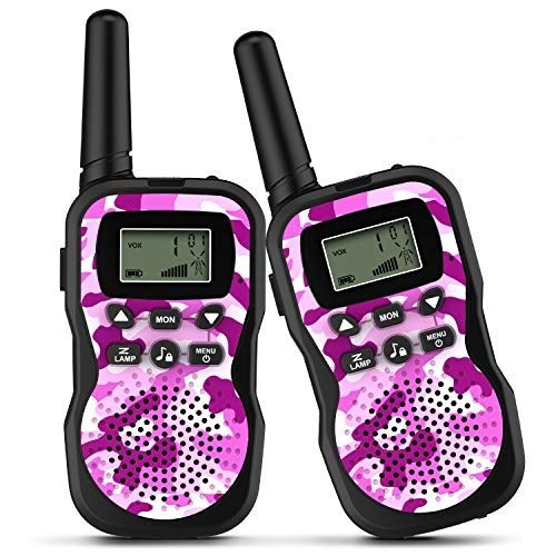 OUNUO Walkie Talkie Kinder Spielzeuge Funkgerät, walky Talky 8 Kanäle 3KM Reichweite, 10 Klingeltöne LCD Bildschirm eingebaute Taschenlampe, 3 Schlüsselbänder Wasserdicht, 3 Stück, Rosa