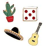 iTemer Broches de bisuteria para ropa y zapatos Pin para solapa Un hermoso recuerdo Aleaciones Cactus Outlet Sombrero para el sol Guitarra 4 piezas