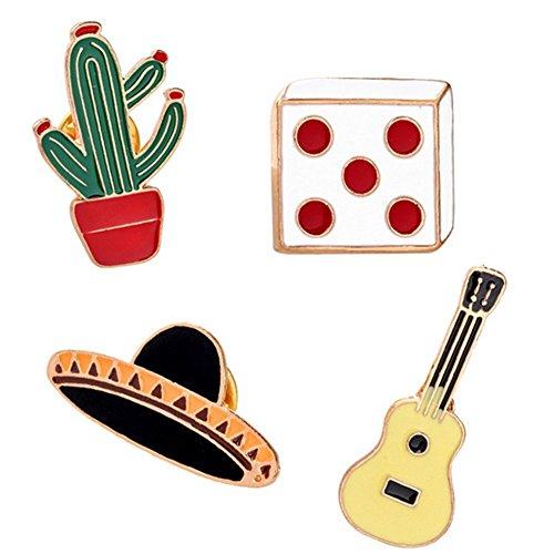 Nikgic erschwingliche 4 Stück Set Niedlichen Cartoon Kaktus Brosche Mode Persönlichkeit Zarte Brosche Tägliche Kleidung Zubehör Legierung Brosche