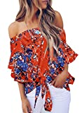 Asvivid Womens Sexy Off The Shoulder Tops Boho Floral Printed Bell Sleeve Blouses Knotted Front Casual T-Shirt M Orange
