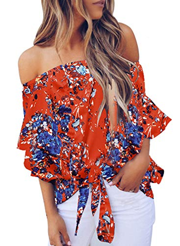 Asvivid Womens Sexy Off The Shoulder Tops Boho Floral Printed Bell Sleeve Blouses Knotted Front Casual T-Shirt S Orange