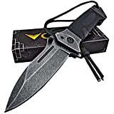 VORTEK Ultra Smooth Fast One Hand Opening Heavy Duty Folding Pocket Knife: 8Cr13MoV Razor Sharp Blade - LMF Style Pommel with Paracord Lanyard - Great for Everyday Carry, Camping, Hunting, Hiking