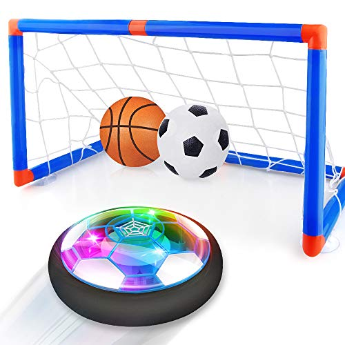Baztoy Hover Football Goal Set, Kids Toys Rechargeable Air Power Soccer Ball Led Light Soft Foam Bumper Inflatable Ball & Basketball Gifts for Boys Girls Children Age 3-12 Indoor Outdoor Garden Game