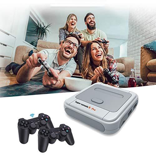 Allwin Super Console X PRO Retro-Spielekonsole Für PS1 / N64 / DC, 50000+ Spiele, 4K HDMI-Kompatible WiFi-TV-Videospiel-Player Mit 2 × Kabellosem Griff,256GB Wireless