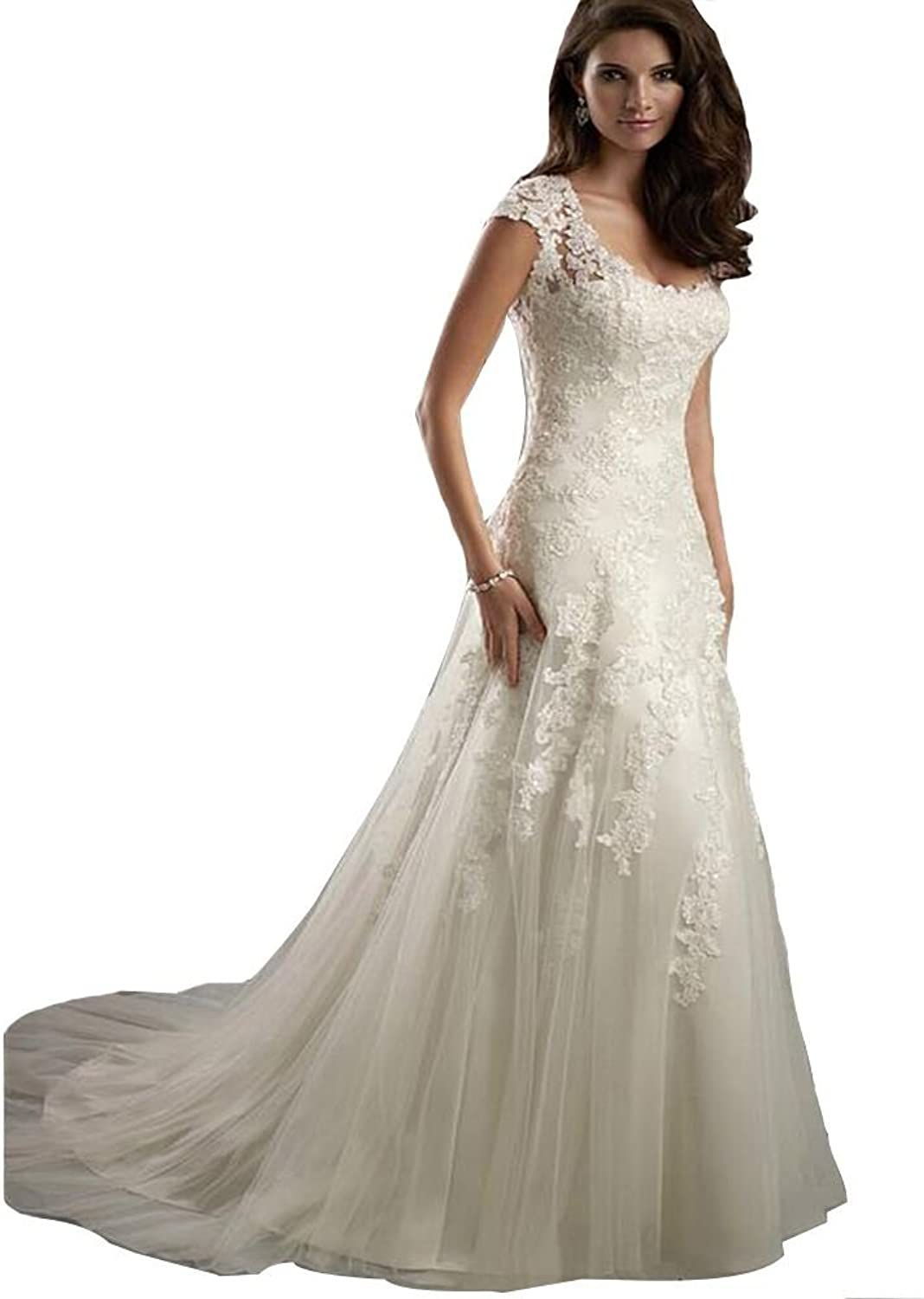 Sunnygirls Women Elegant Lace Appliques A Line Wedding Dress Open Back