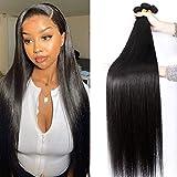 Straight Human Hair Bundles 100% Virgin Brazilian Hair 3 Bundles (16 18 20 Inch) Straight Weave Hair Human Bundles Unprocessed Remy Hair Bundles