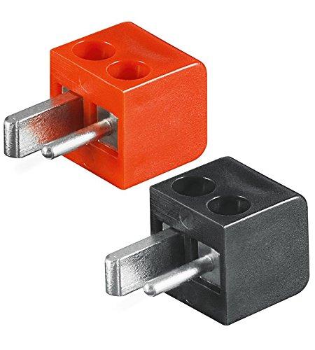 4X Lautsprecher- Mini DIN Stecker (alte DIN Norm) |Set mit 2X Stecker rot + 2X Stecker schwarz |lötfrei; Schraubtechnik ;[LS-Stecker; Strich-Punkt Stecker; Auto-/KFZ-Lautsprecher Stecker]