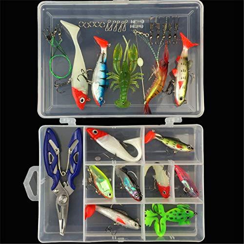 RoseFlower 34 Piezas Kits de señuelos para Pesca Cebos Artificiales de Pesca Cebo Duros/Suaves Incluye Ranas, Giratorios, Cuchara, Anzuelos - Pesca Accesorios para Pesca de Trucha, Bagre y Lucio