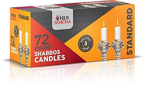 Ner Simcha ceri Tall Shabbat antigoccia, matrimonio, casa e decorazione di vacanza, candele da tavola Set di 72ore bianco Shabbat Candles
