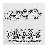AIUI - Sellos de silicona con forma de conejo de Pascua, diseño de pollitos