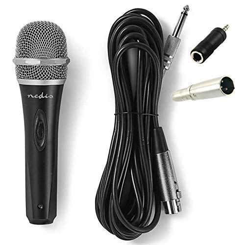 TronicXL - Micrófono dinámico de metal para cantar y escenario + 5 m de cable XLR 6,35 mm + conector jack de 3,5 mm, juego de micrófono Premium Micro cantante dinámico, negro y plateado