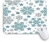 印刷されたマウスパッド雪片クリスマスホワイトシルバーブルー休日明るさ星のお祝いのテクスチャ色、ゲームプレーヤーのオフィス用の装飾的なマウスパッド、デスクの装飾、9.5x7.9インチ