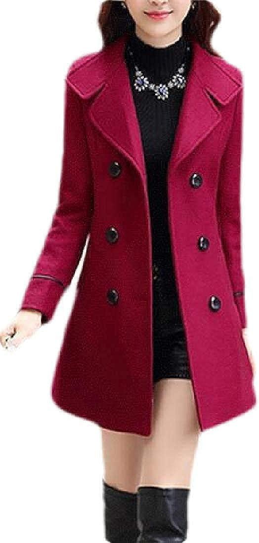 Yhsuk Ultra-Cheap Deals safety Women Winter Overcoat Plain Blend Woollen Breasted Double