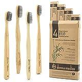 Cepillo de dientes de carbón de bambú por Derma Medico Paquete de 4 Cepillos de dientes de bambú bellamente hechos a mano Cerdas de carbón negro suave