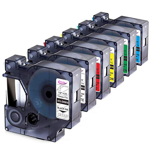 Anycolor Compatible Label Tape Replacement for DYMO 45013 45010 45016 45017 45018 45019 Label Maker Tape Work with DYMO 160 280 PnP 360D 210D Labeler, 0.47 Inch (12mm) Width 23 Feet Length, 6-Pack