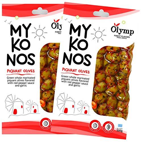 Griechische Oliven mariniert mit würzigem Pfeffer und Knoblauch von Olymp | Mykonos natürliche grüne ganze Oliven (1000)