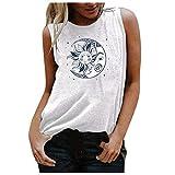 Pas Cher Debardeur Femme Long Chic Grande Taille Eté Couleur Unie Impression Col Rond sans Manches Chemisier Ample Vintage Mode Sexy Sport Coton Top Tunique T-Shirt