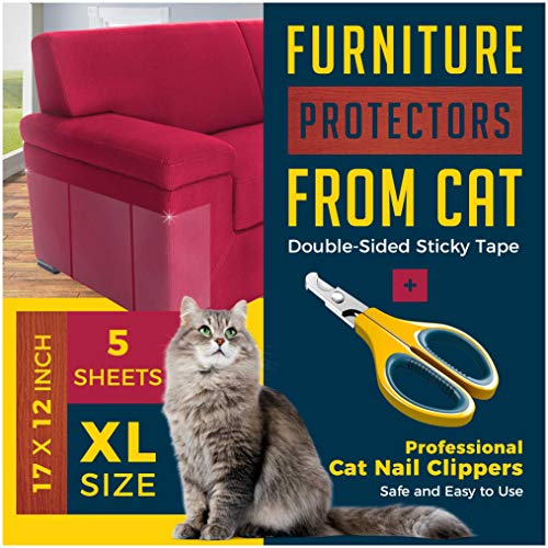 Anti Cat Scratch Deterrent Tape-Useful Nail Clippers Easy to Handle-5 Highly Effective Huge Clear Double Sided Training Tape Couch Protector from Cats- All You Need to Live Happily with Your Cat