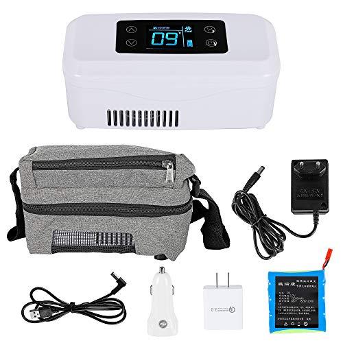 CGOLDENWALL 15Stunden Insulin-Kühlbox Tragbare Elektrische Intelligente Mini-Kühlschrank mit Große Kältetechnik Platz176 x 59 x 26 mmMedizinische Kühltasche für Reise Auto