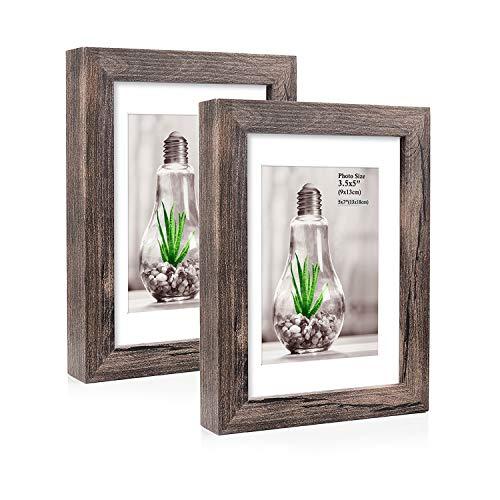 Metrekey Marco de fotos de 13 x 18 cm con paspartú para imágenes de 9 x 13 cm, marco de fotos vintage con plexiglás de alta resolución para decoración de pared y mesa (2 unidades)