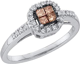 Sonia Jewels 10K White Gold Halo Invisible Set Princess and Round Cut Chocolate Brown and White Diamond Engagement Ring OR Fashion Band - Square Princess Shape Center Setting - (1/4 cttw.)