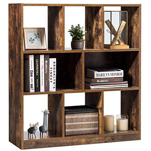 Tangkula Industrial Wooden Bookcase, Freestanding Bookshelf with Open Shelves, Display Cabinet Shelf & Storage Bookcase for Decorations, Books, Storage Cabinet for Living Room Bedroom (Rustic Brown)