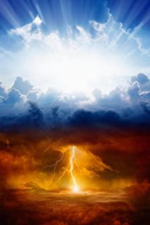 Dramatic Sky Photo Heaven Hell Sunny Blue Sky Severe Lightning Storm Clouds Religious God Apocalyptic Photo Cubicle Locker Mini Art Poster 8x12