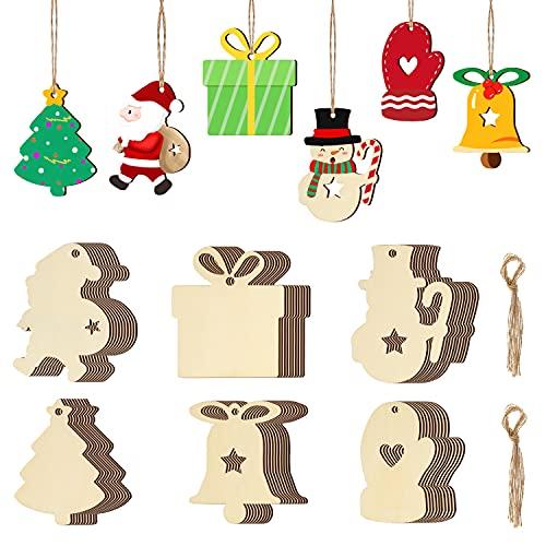 Oladwolf Weihnachtsanhänger Holz Weihnachtlicher Baumschmuck, Christbaumschmuck Holz Anhänger Weihnachtsdeko Basteln Weihnachten Kinder, DIY holzanhänger Holzkarten Geschenkanhänger Mit Schnur Klein
