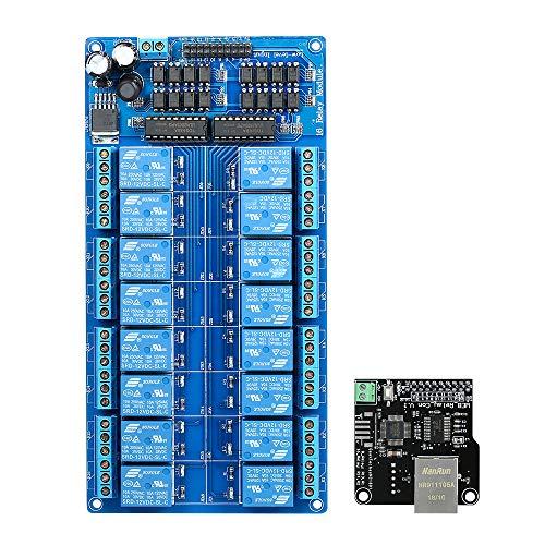 KKmoon Ethernet-Steuermodul LAN WAN-Netzwerk Web-Server IP-TCP-RJ45-Port + 16-Kanal-Relaiserweiterungskarte für Arduino iOS Raspberry Pi 16-Kanal-Relais