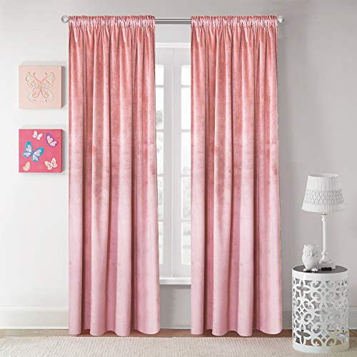 Roslynwood Velvet Curtain Panels Pink Blush Room Darkening Window Super Soft Luxury Drapes for Bedroom Thermal Insulated Rod Pocket Curtain for Living Room (2 Panels, 52 by 96 Inch)