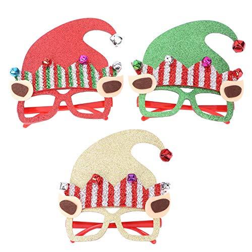 3Pcs Weihnachtsbrillen Elf Santa Hat Sonnenbrille Lustige Brille Neuheit Sonnenbrille für Xmas Holiday Festival Party Favors GIF