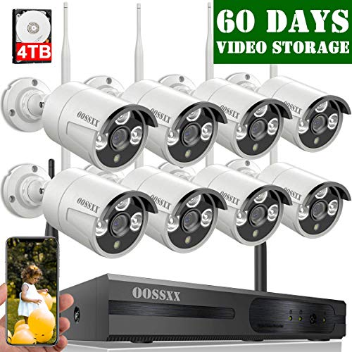 【2020 Update】 OOSSXX 8-Channel HD 1080P Outdoor Wireless Security Camera System,8Pcs 1080P...