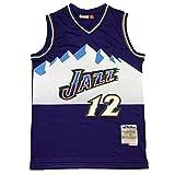 CLKJ Jazz # 32 Karl Malone y 12 John Stockton Basketball Jersey, Bordado de Hombres Retro Transpirable cómoda Camiseta (S-2XL) #12 B-L