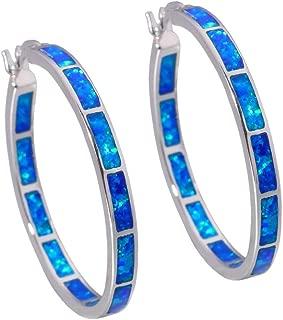 Blue White Opal Hoop Earrings,Women Jewelry Rhodium Plated Gemstone Big Hoop Earrings 19mm-32mm