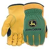 West Chester John Deere JD00008 Top Grain Deerskin Leather Driver Gloves – [1 Pair] X-Large, Spandex Back, Shirred Elastic, Slip-On Cuff, Keystone Thumb, tan/green, JD00008-XL