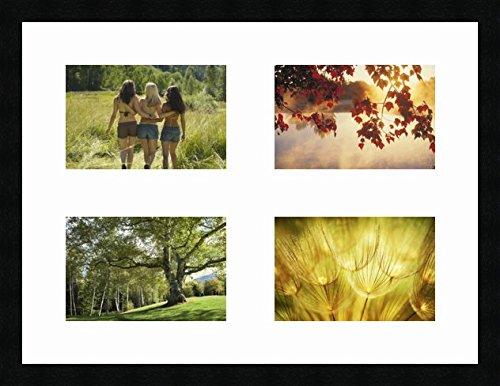 Cadres Photos pêle mêle multivues 4 Photo(s) 23x15 Passe Partout, Cadre Photo Mural 60x45 cm Noir, 3 cm de Largeur