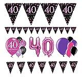 Feste Feiern Deko-Set 40. Geburtstag 15 Teile Luftballon Partykette Wimpel Girlande Banner Pink Schwarz Violett Metallic Geburtstagsdeko Happy Birthday 40