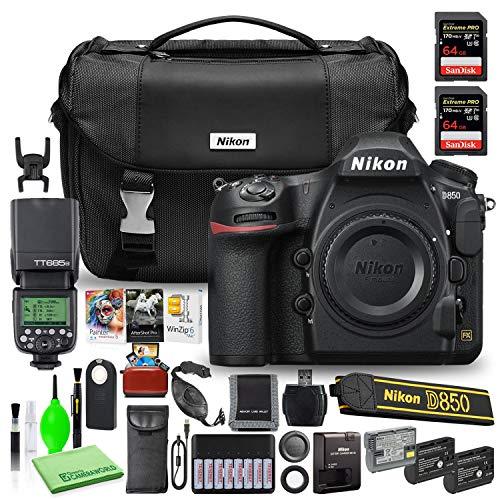 Nikon D850 DSLR Digital Camera Body Only (1585) USA Model Bundle with (2) SanDisk 64GB Extreme PRO SD Cards + Godox V350N TTL Flash + Editing Software + (2) Extra Batteries + Nikon Camera Bag + More