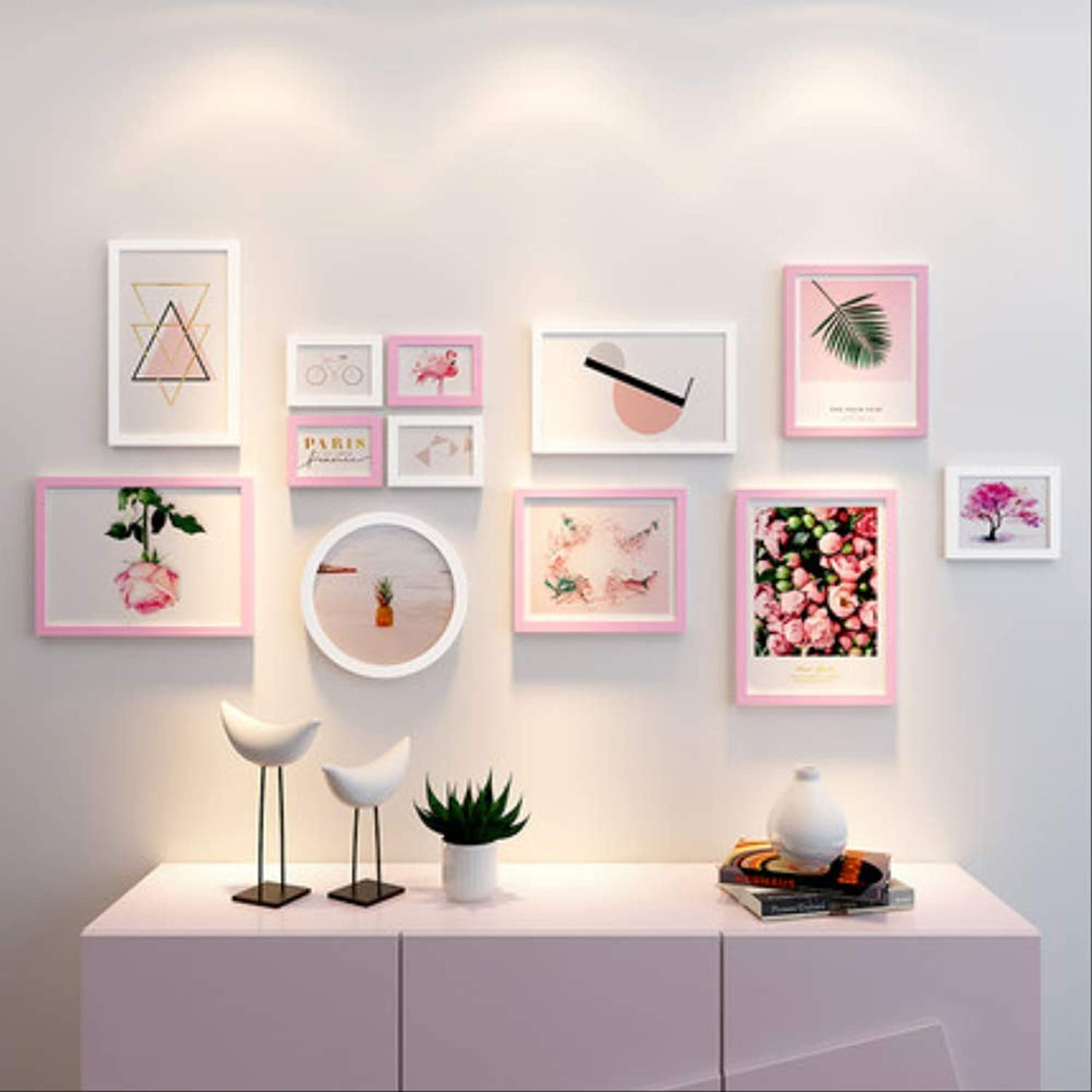 YKDDII Picture Frames Wooden Frames For Pictures Hanging Wall Frame Photo Set Photo Frames For Picture Wall 12 Pieces Black White Round Rectangle Classic Fashion Multifunction Photo Frame