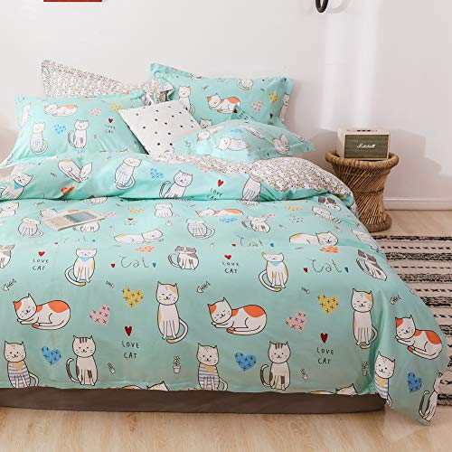 LAYENJOY Cats Duvet Cover Set Queen, 100% Cotton Bedding, Cartoon Cats Heart Pattern Printed on Mint Green Reversible Floral, 1 Comforter Cover Full and 2 Pillowcases for Kids Teens Boys Girls